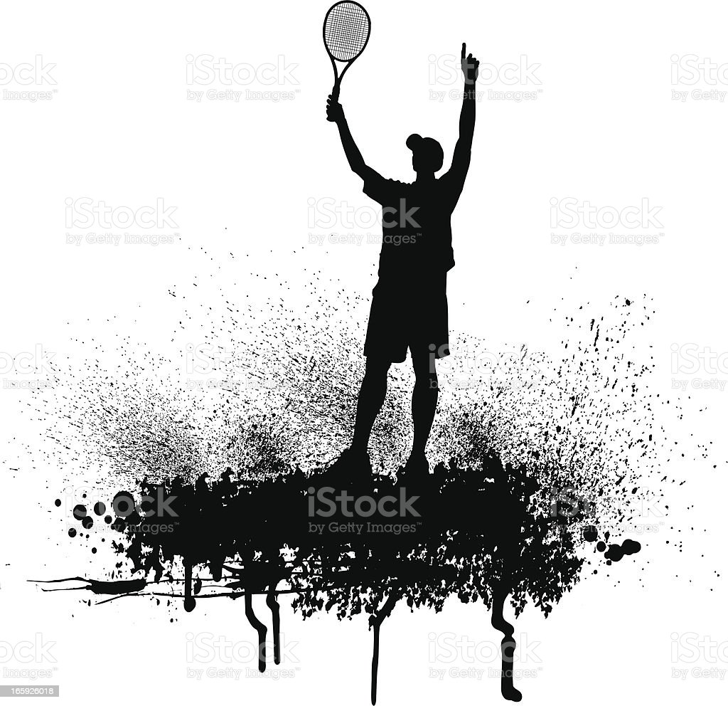 Tennis Player Victory Celebration - Men vector art illustration