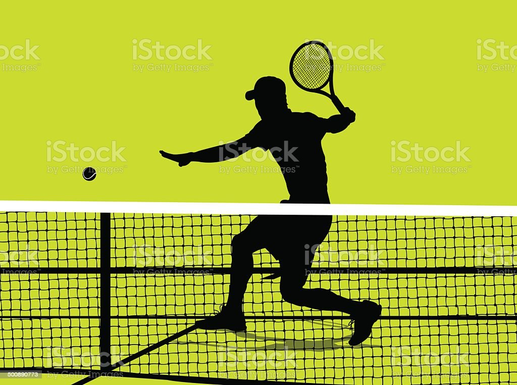 Tennis Player - Volley Background vector art illustration