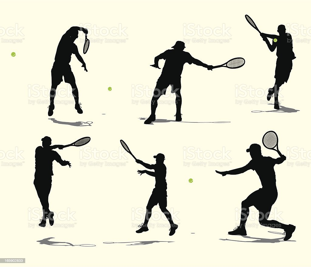 Tennis Player Volley or Rally - Male vector art illustration