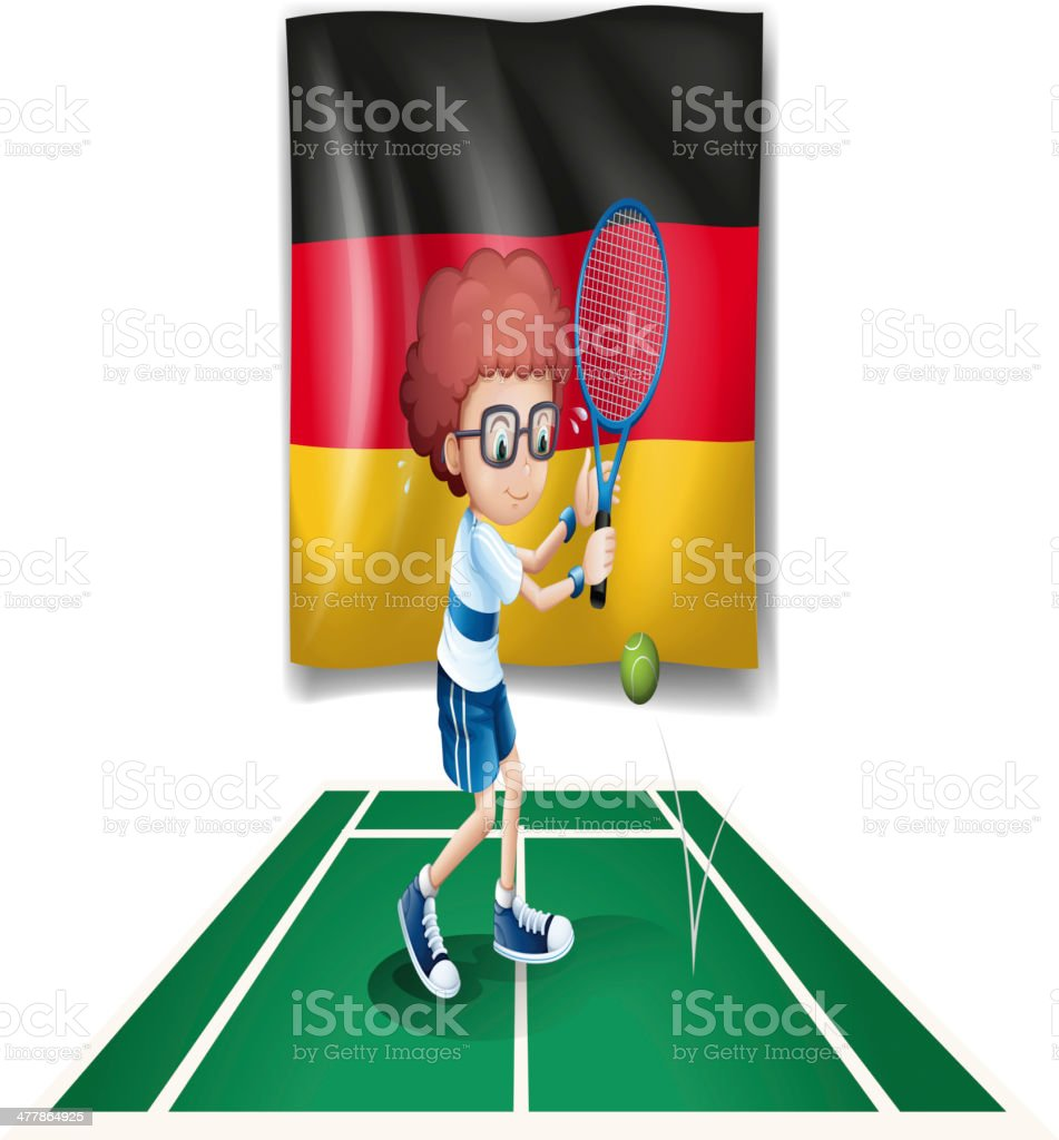 Tennis player with the flag of Germany royalty-free stock vector art
