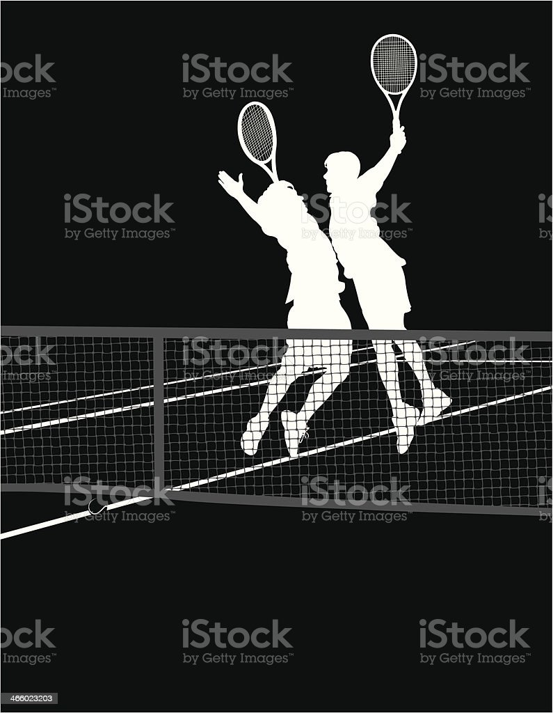 Tennis Players - Chest Bump Victory vector art illustration