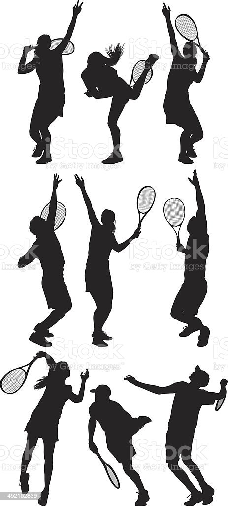 Tennis players in action royalty-free stock vector art