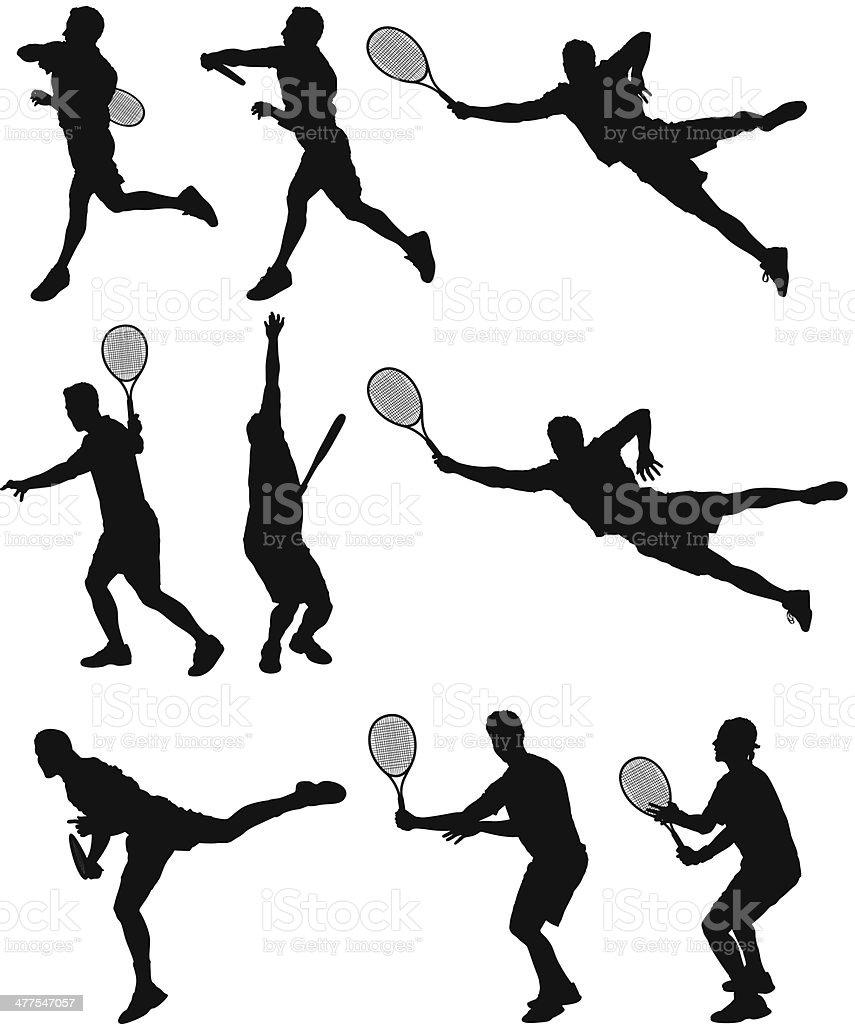 Tennis players vector art illustration