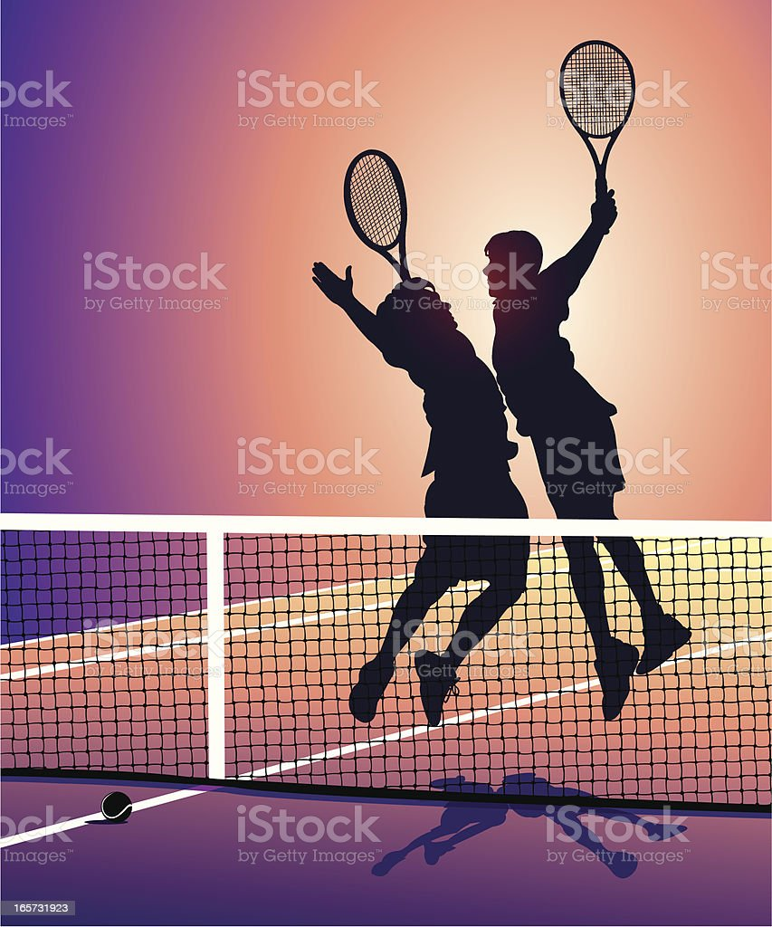 Tennis Players Victory Celebration - Sport High Five Chest Bump vector art illustration
