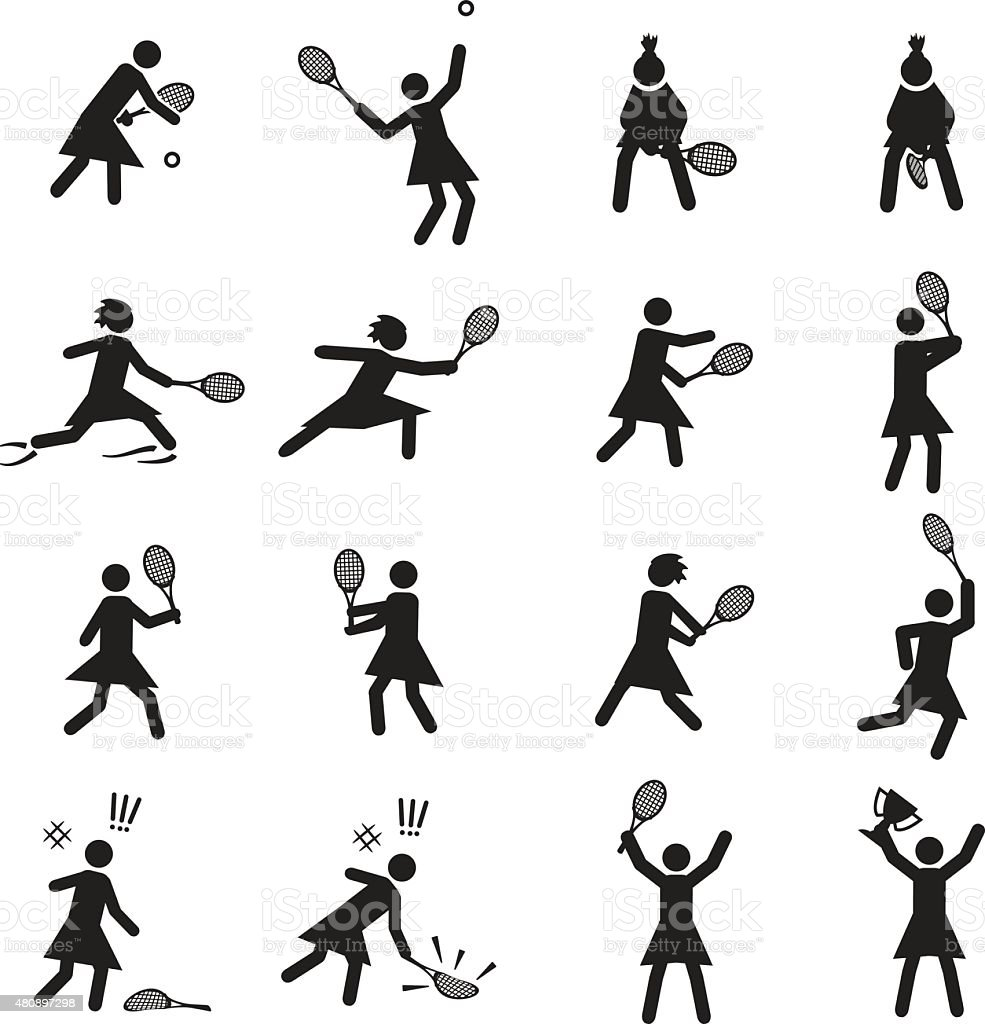 Tennis postures female icon set vector art illustration