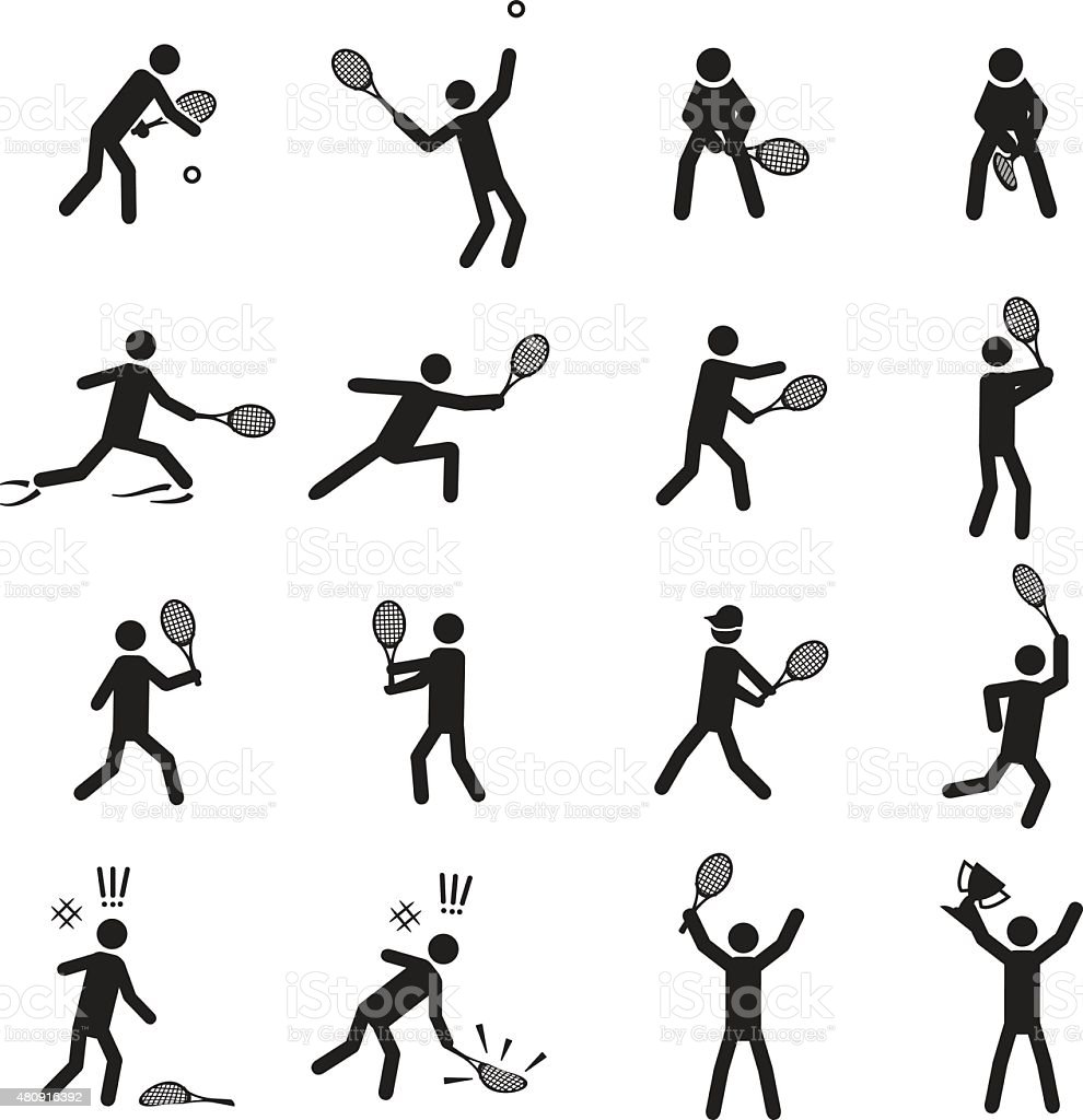 Tennis postures male icon set vector art illustration