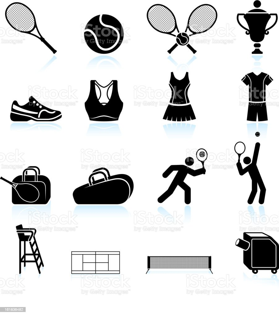 Tennis Practice black and white icon vector art illustration