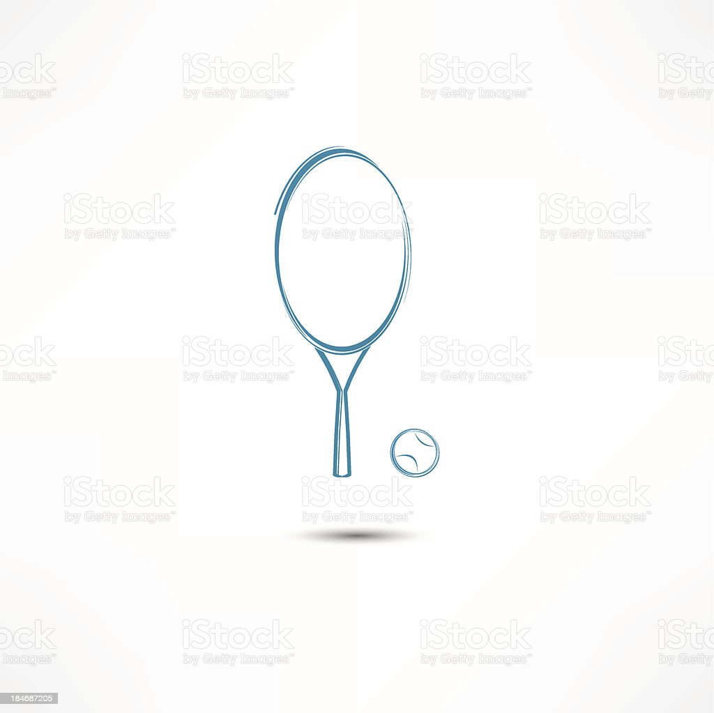 Tennis racket and ball icon royalty-free stock vector art