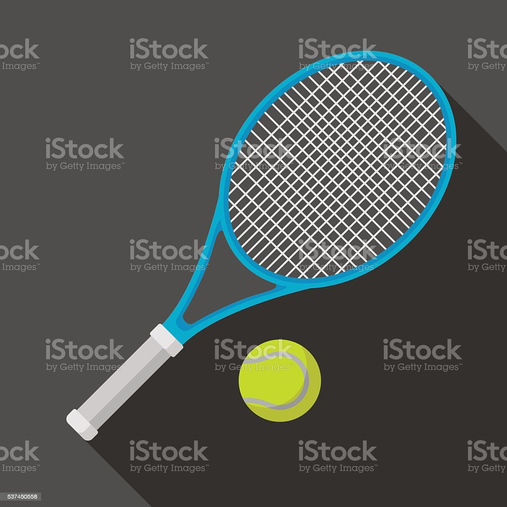 tennis racket and ball icon with long shadow vector art illustration