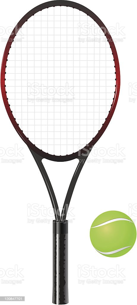 tennis racket and ball vector art illustration