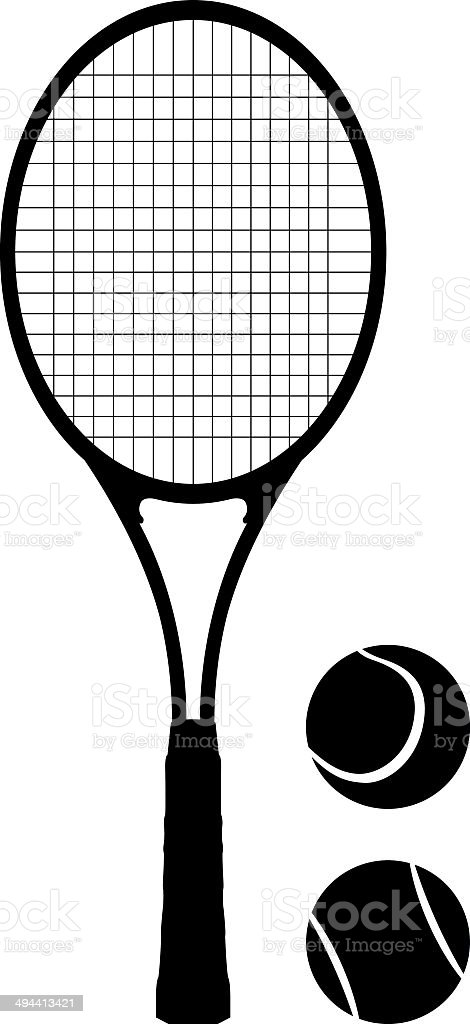 Tennis racket and balls vector art illustration