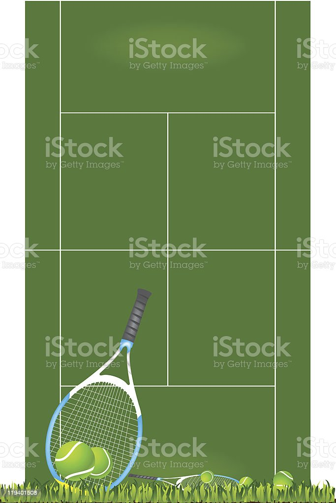 Tennis racket and playing field vector art illustration