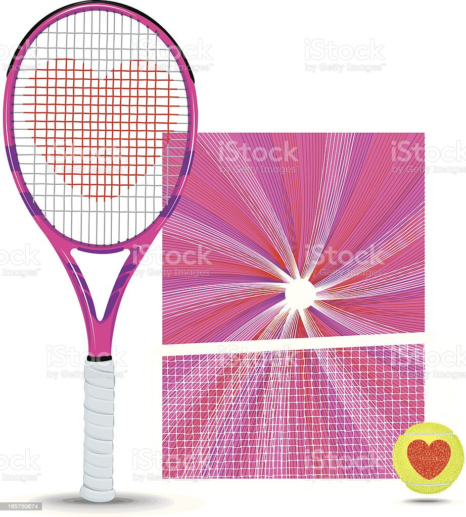 Tennis Racket, Ball, Net and Background vector art illustration