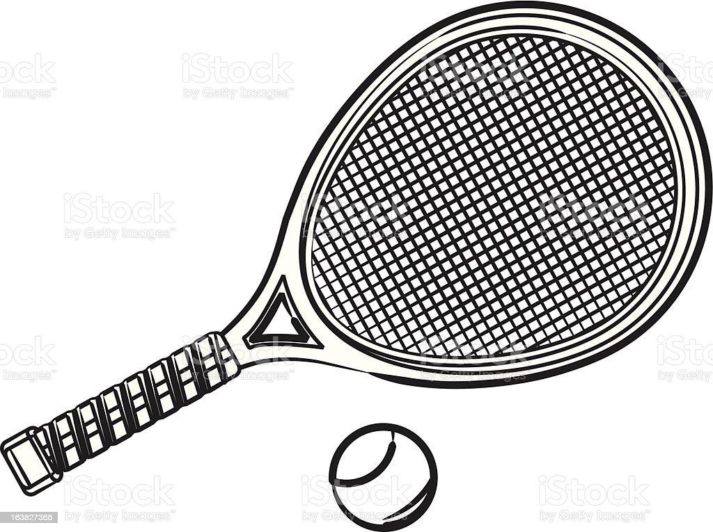 Tennis Racket & Ball royalty-free stock vector art