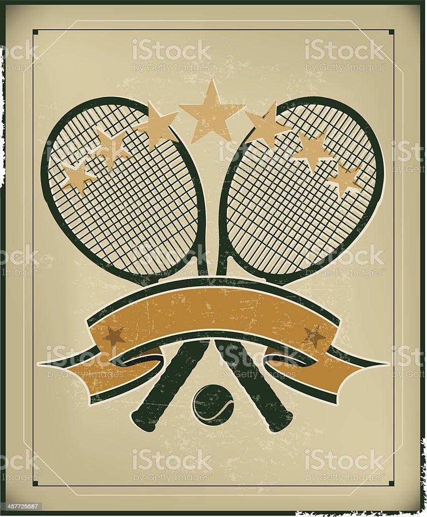 Tennis Racket Banner Background - Retro vector art illustration