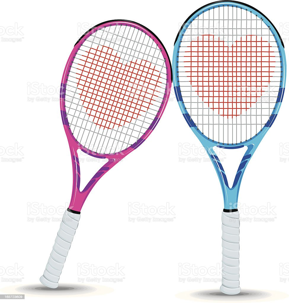 Tennis Racket Couple in Love with Heart vector art illustration