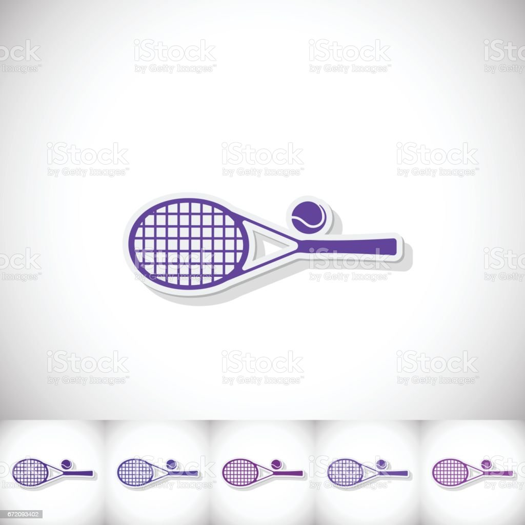 Tennis racket. Flat sticker with shadow on white background vector art illustration