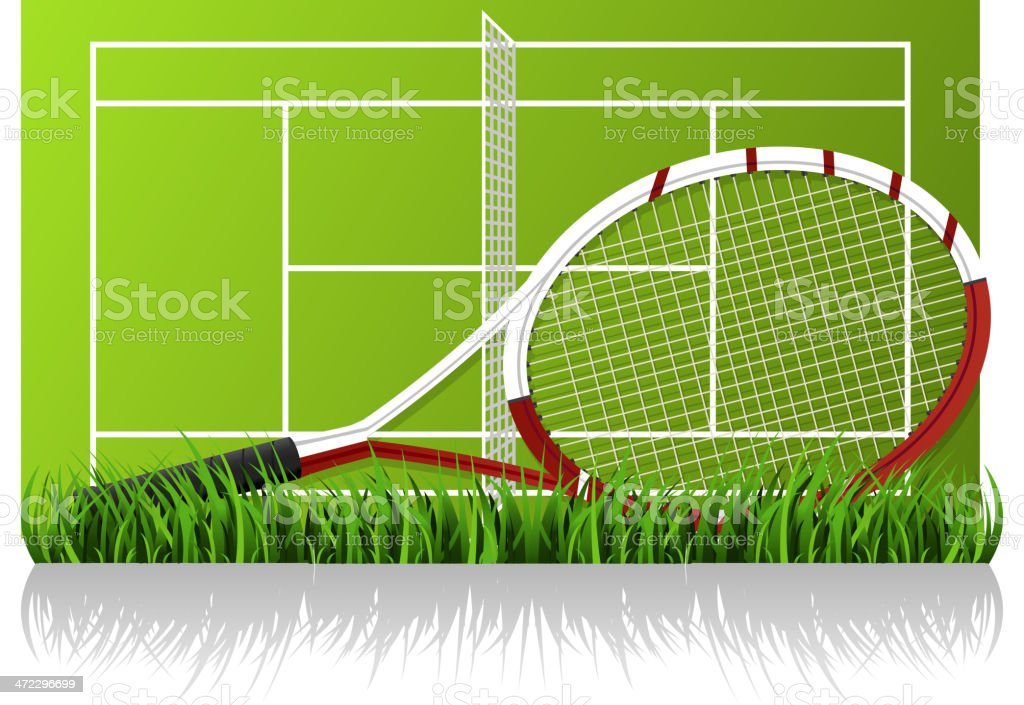 Tennis racket in front of tennis-court grass clay vector art illustration