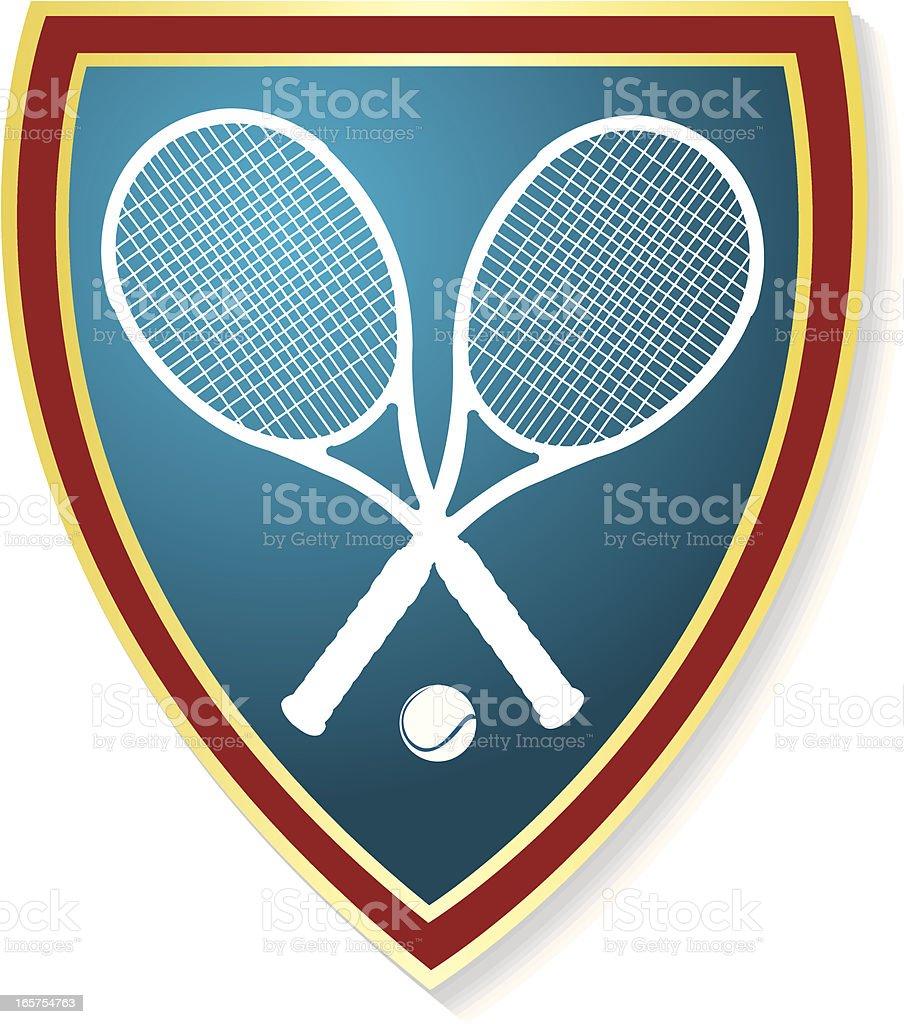 Tennis Racket Shield Graphic vector art illustration
