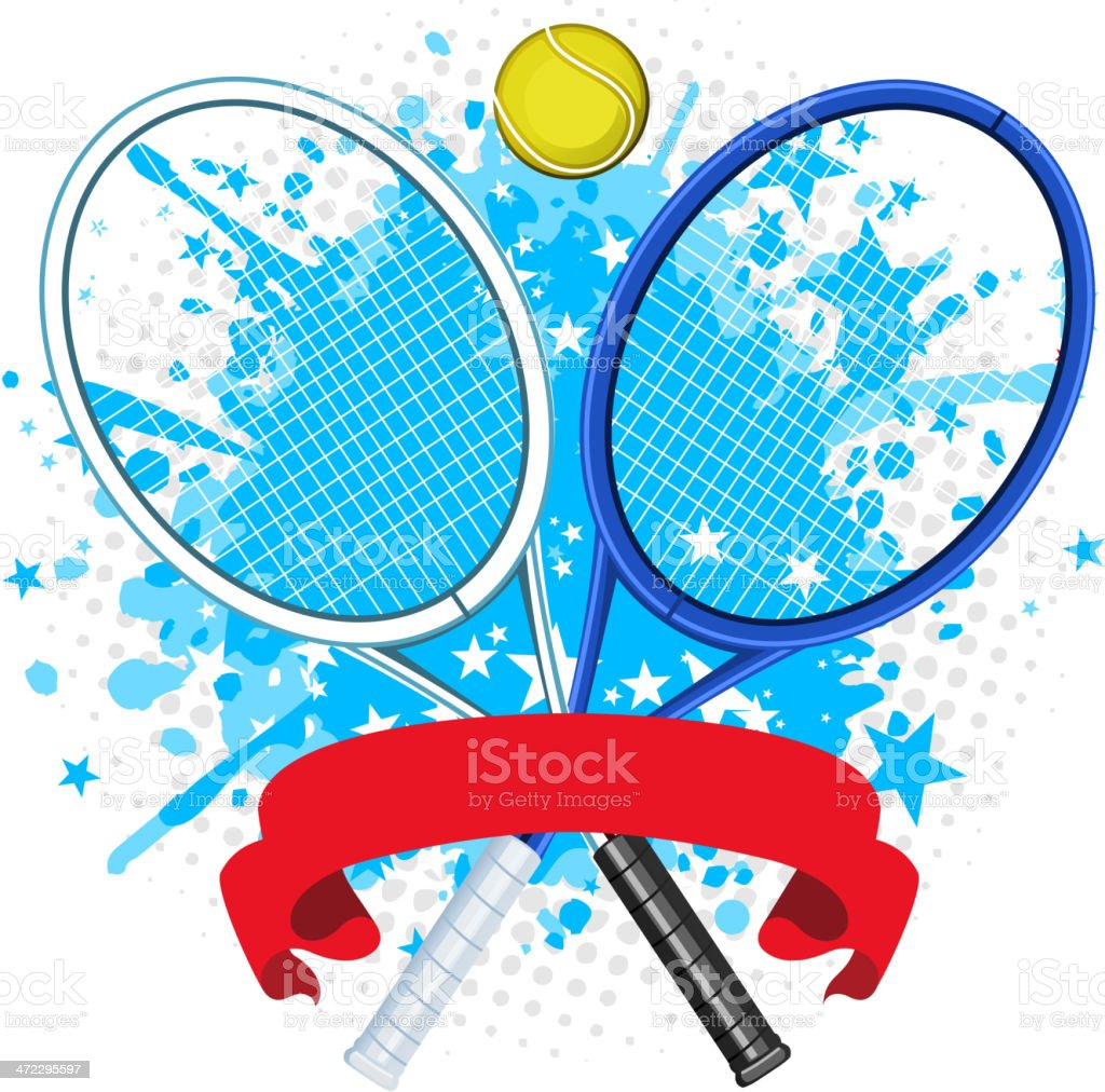Tennis racket splash with ball and red banner vector art illustration