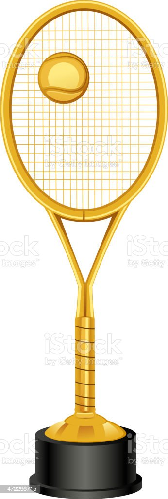 Tennis Racket Standing Trophy vector art illustration