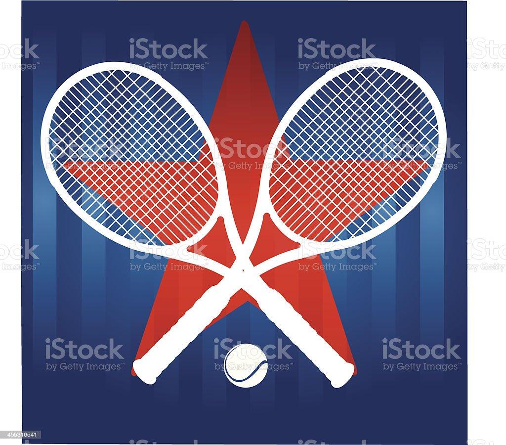 Tennis Racket Star Background vector art illustration