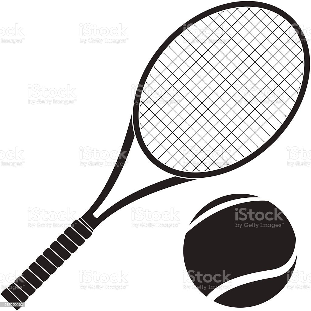 Tennis racket with ball vector art illustration
