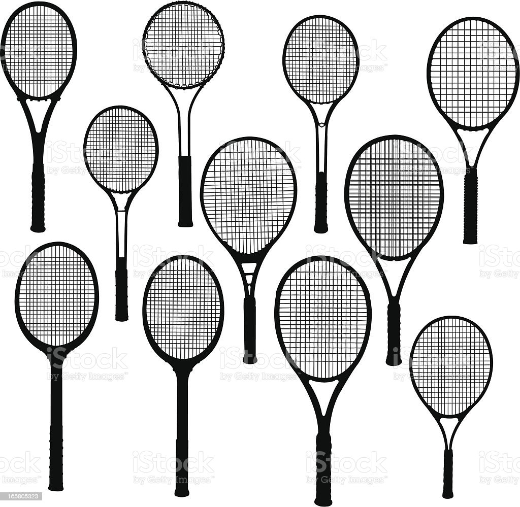 Tennis Rackets -1960 to Present vector art illustration