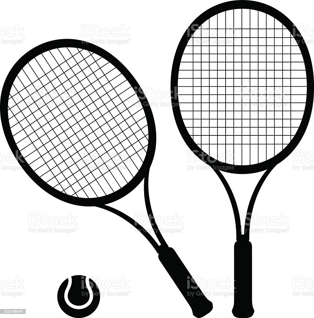 Tennis rackets and ball - VECTOR vector art illustration