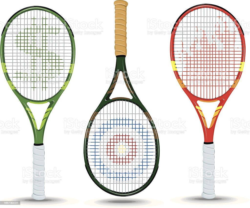 Tennis Rackets - Dollar Sign, Target, Flame vector art illustration
