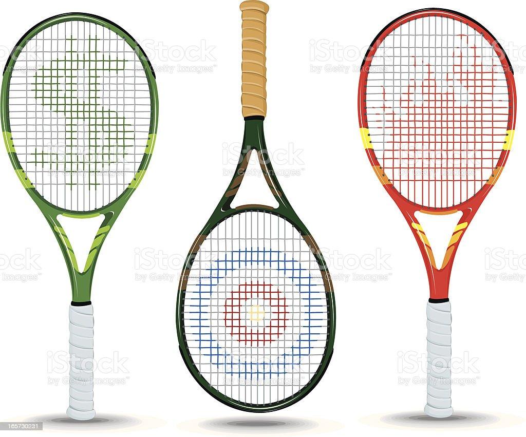 Tennis Rackets - Dollar Sign, Target, Flame vector art illustration