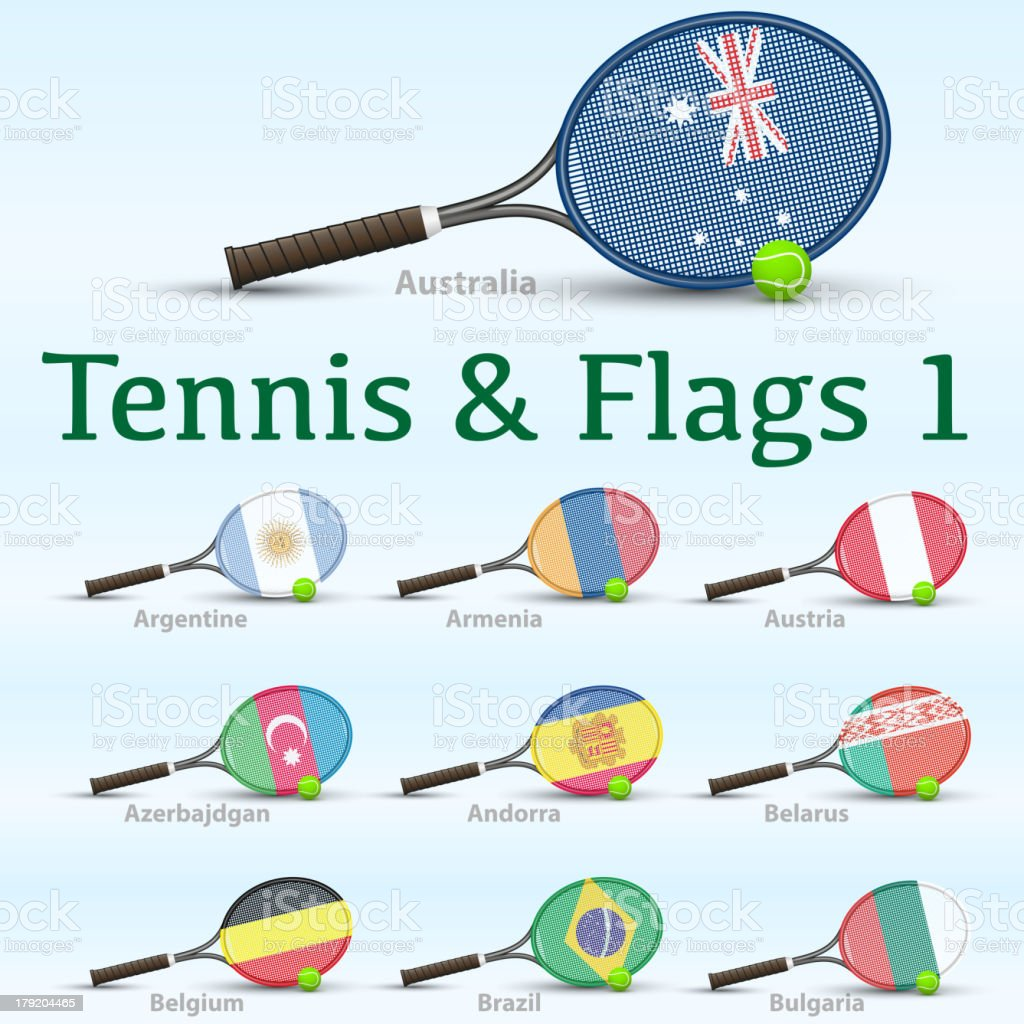 Tennis rackets & flags royalty-free stock vector art