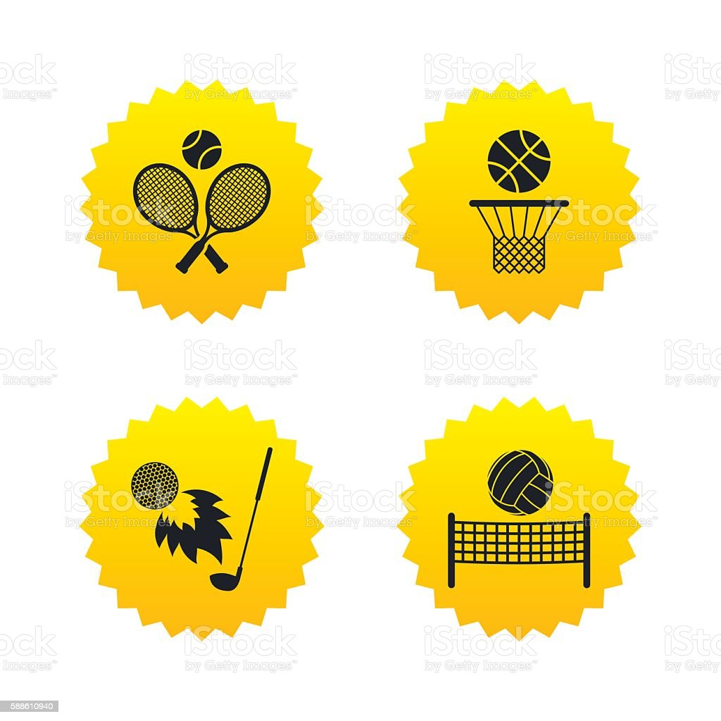 Tennis rackets with ball. Basketball basket. vector art illustration