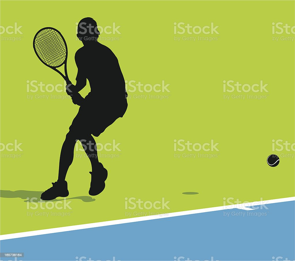 Tennis Rally - Male Player Background vector art illustration