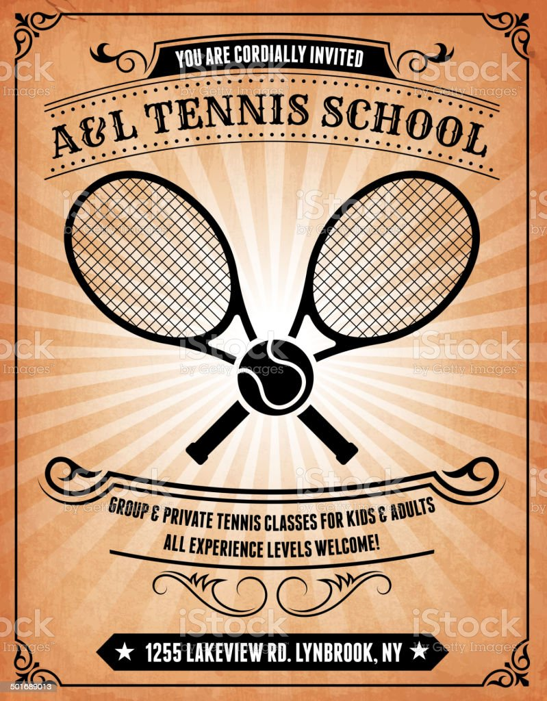Tennis school on royalty free vector Background Poster vector art illustration