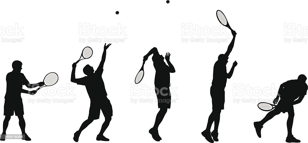 Tennis Serve Vector Silhouette vector art illustration