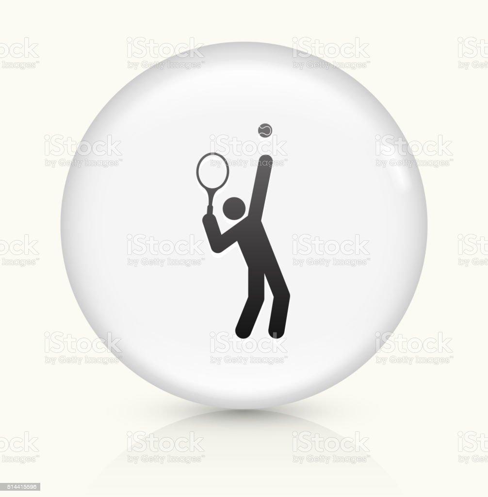 Tennis Server icon on white round vector button vector art illustration