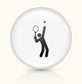 Tennis Server icon on white round vector button