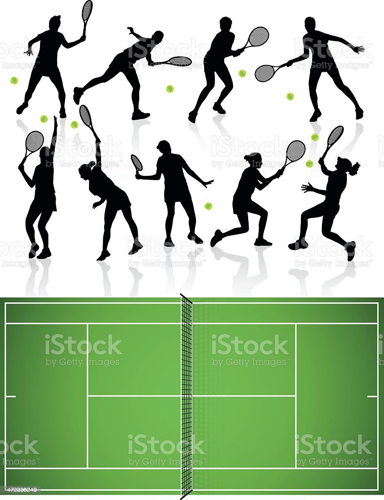 Tennis Silhouettes and Court royalty-free stock vector art
