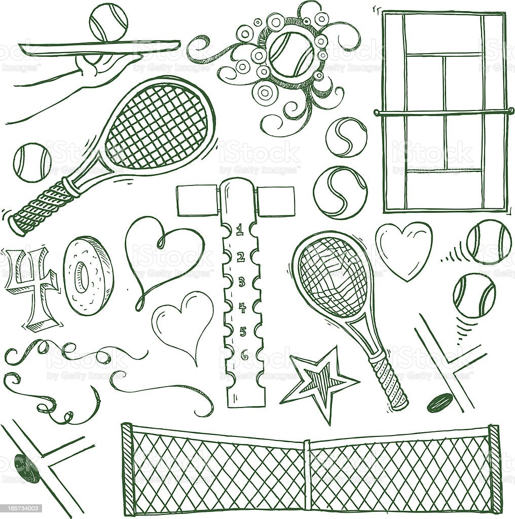 Tennis Sport Doodles vector art illustration