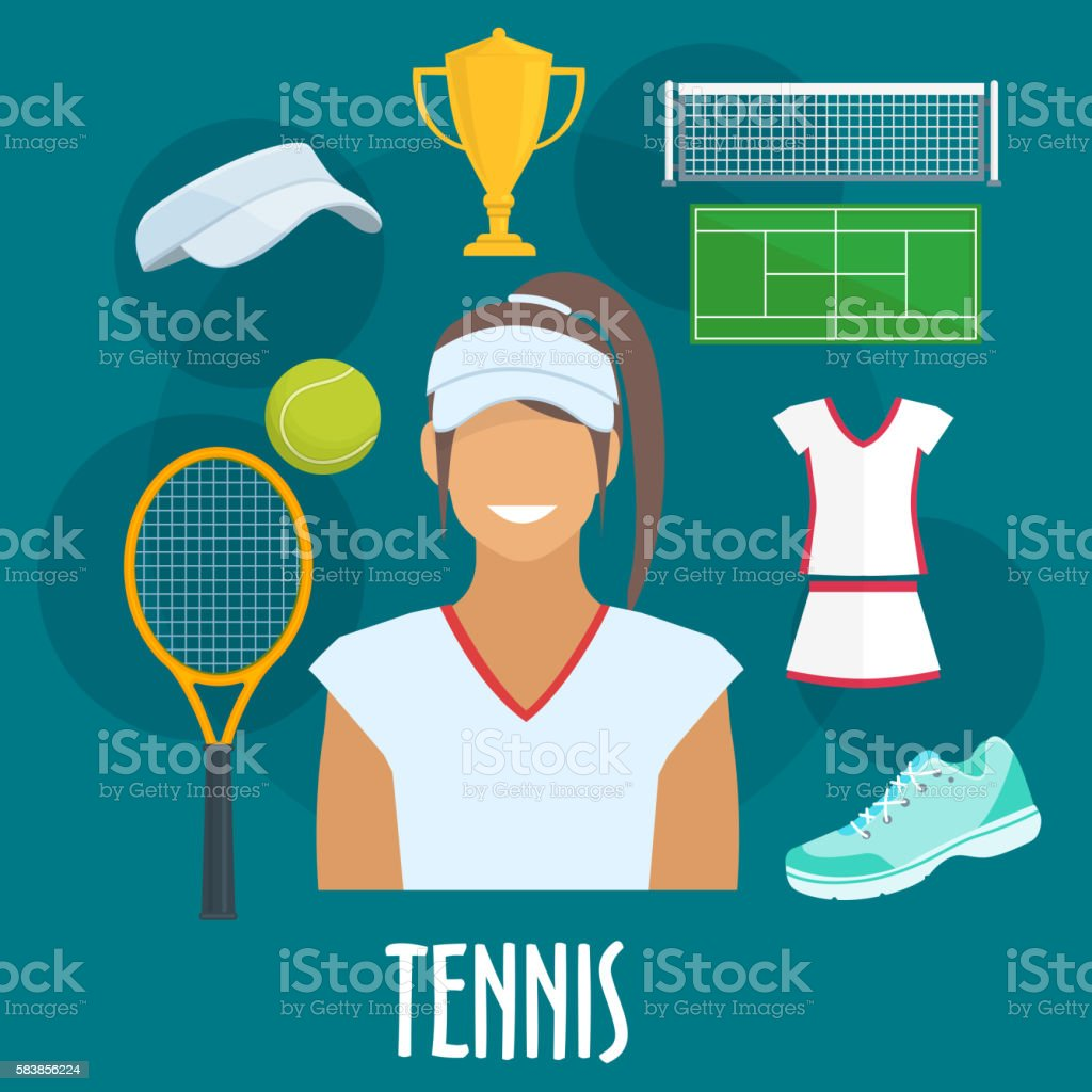 Tennis sport equipment and outfit elements vector art illustration