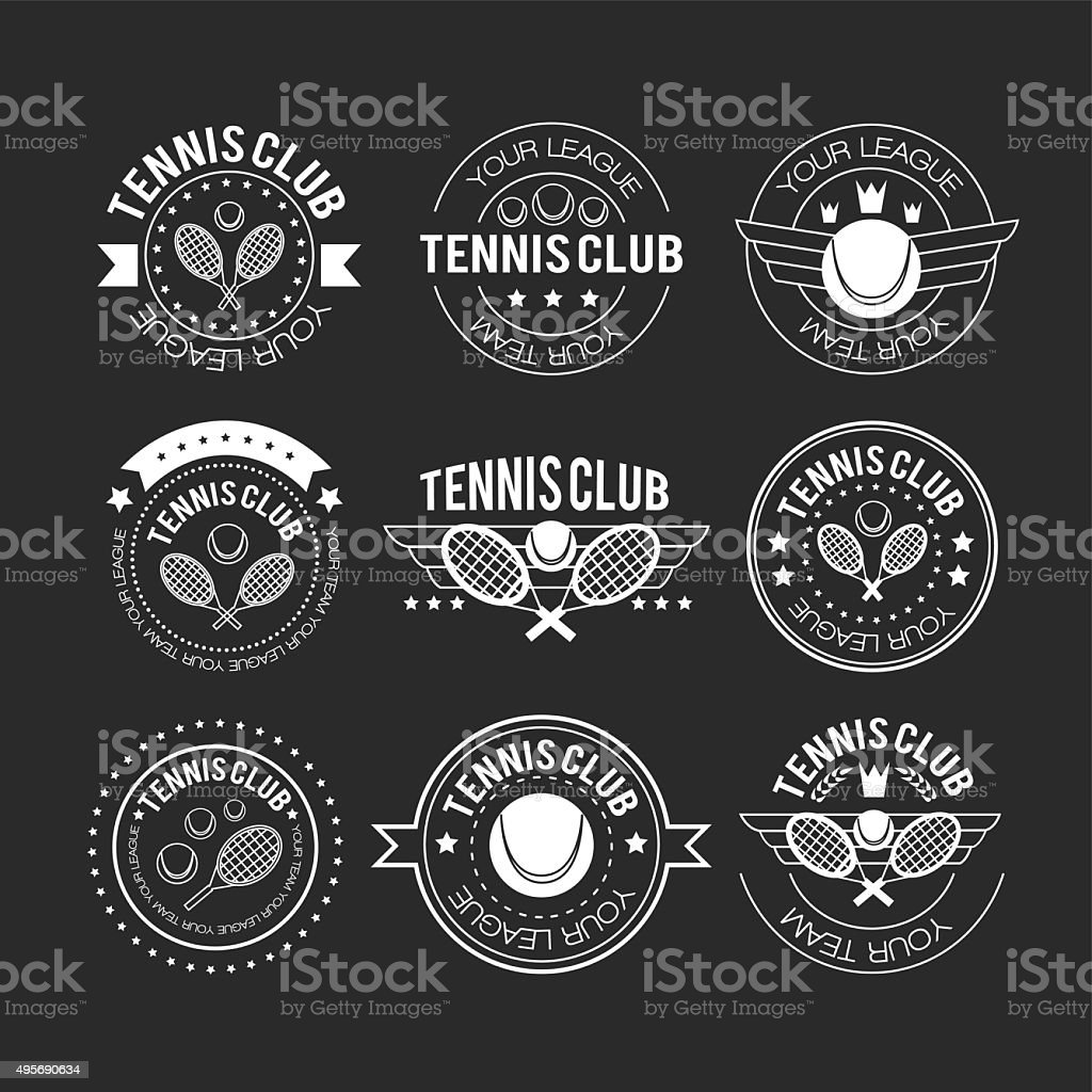 Tennis sporting vintage emblems vector art illustration