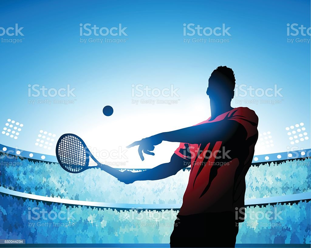 Tennis swing vector art illustration