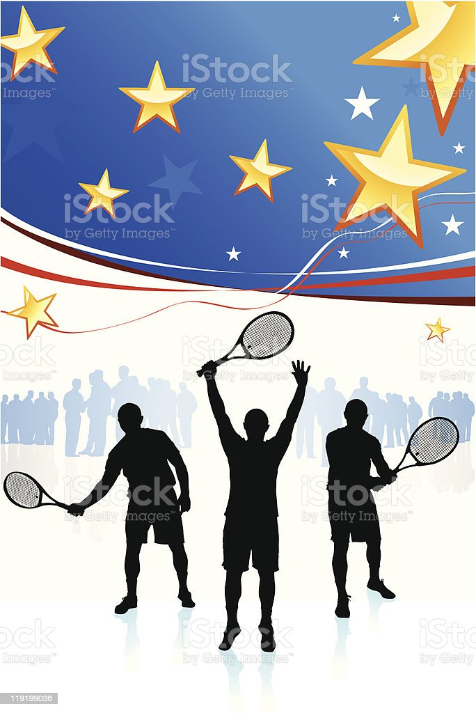 Tennis Team on American Patriotic Background royalty-free stock vector art
