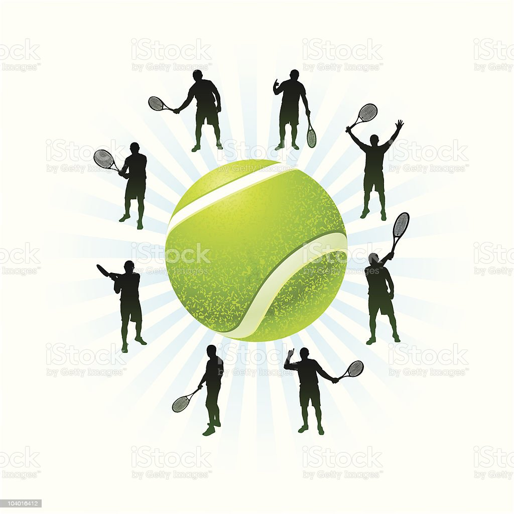 Tennis Team Silhouette with Ball royalty-free stock vector art