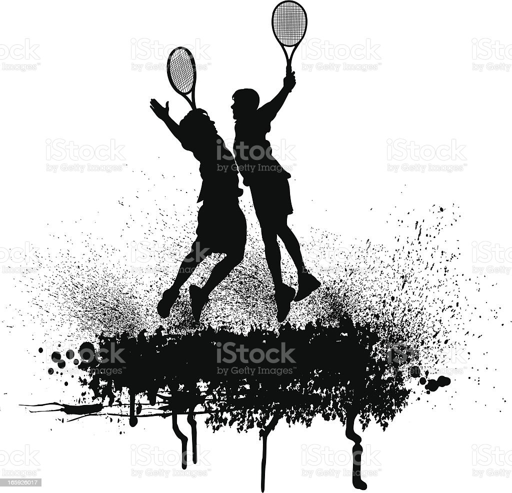 Tennis Team Victory Celebration - Men vector art illustration