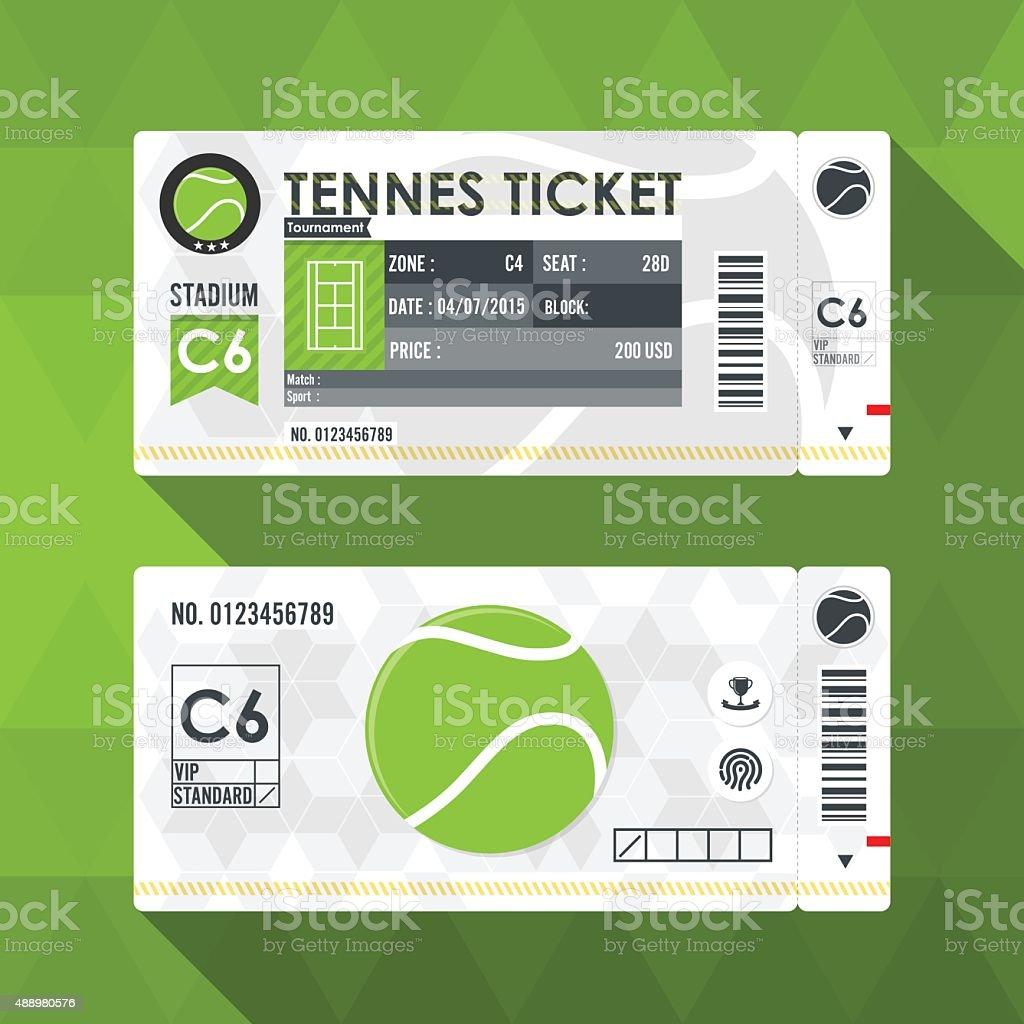 Tennis ticket card modern element design. vector art illustration