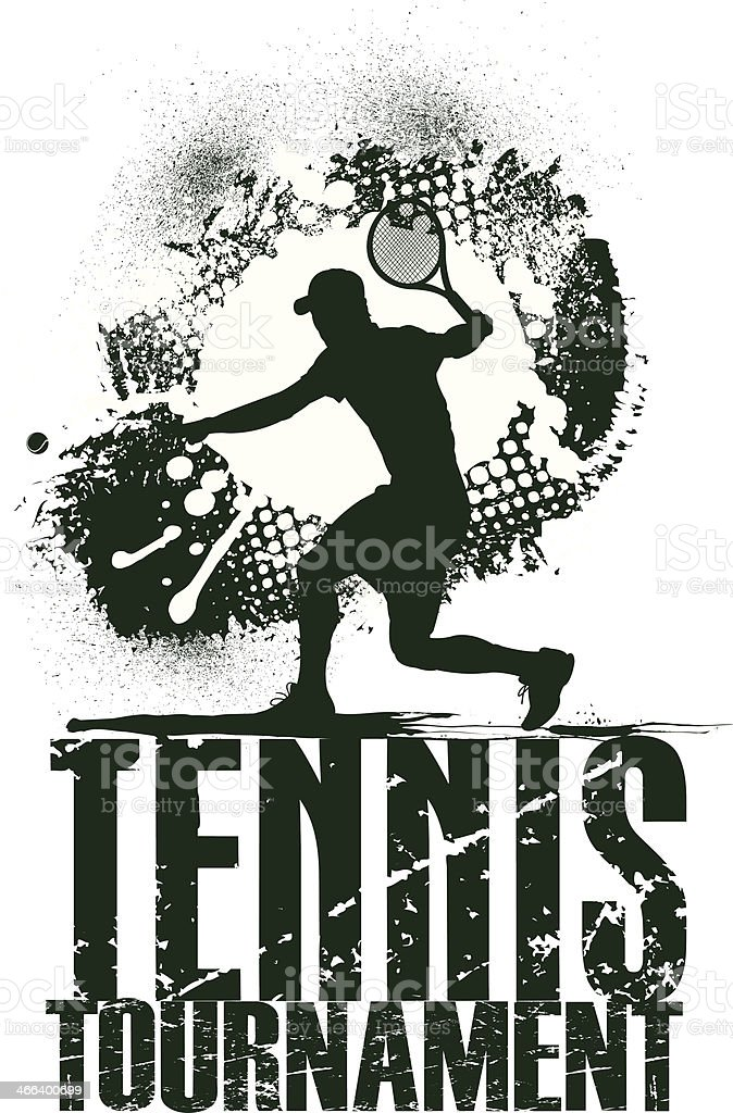 Tennis Tournament Grunge Graphic vector art illustration