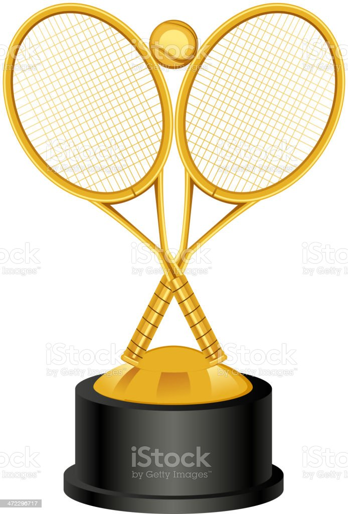 Tennis Trophy Award vector art illustration
