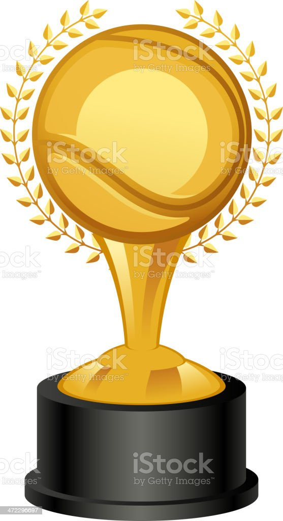 Tennis Trophy Award with laurel wreath royalty-free stock vector art